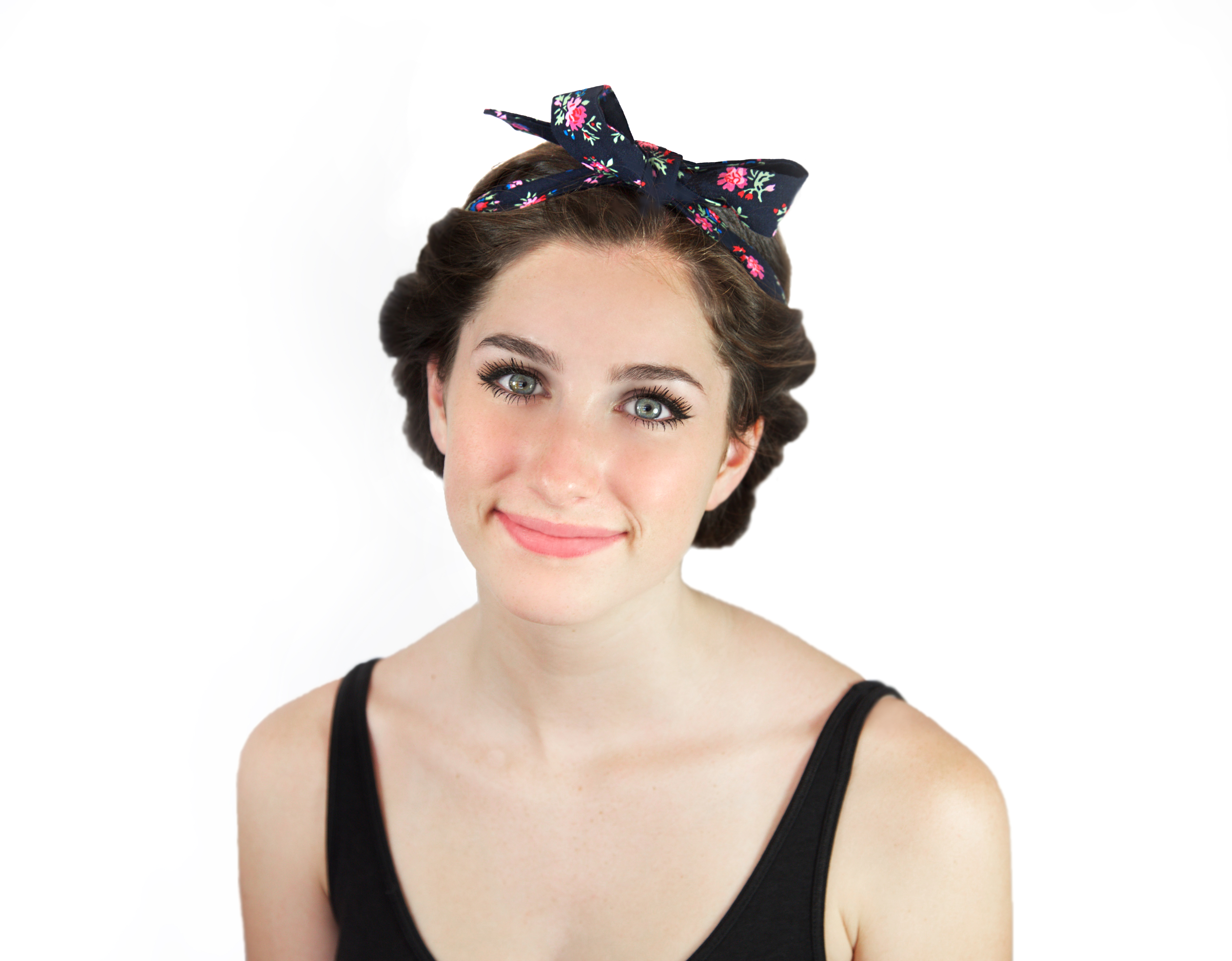 Navy Floral Front Updo